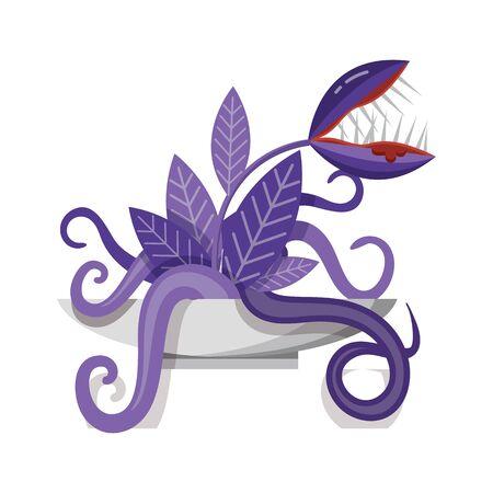 Venus Flytrap Carnivorous Plant Monster Flat Icon 일러스트