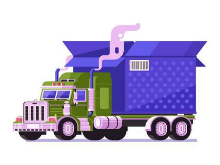Auto Shipping Deliver Truck with Parcel Icon