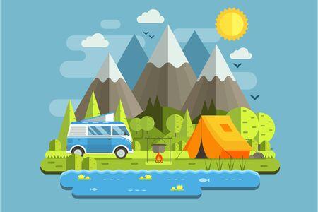 Mountain RV Camping Landscape in Flat Design