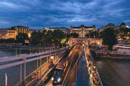 Szechenyi Chain Bridge on Danube River View