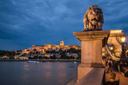 Szechenyi Chain Bridge with Stone Lion View