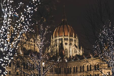 Night Budapest Parliament with Christmas Lights Illumination