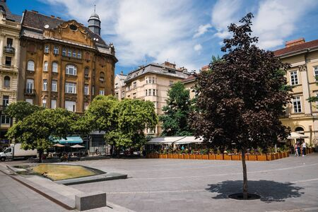 Budapest Old Historical Buildings on Fovam Square 에디토리얼