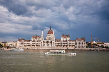 Dramatic Sky under Budapest Parliament and Danube