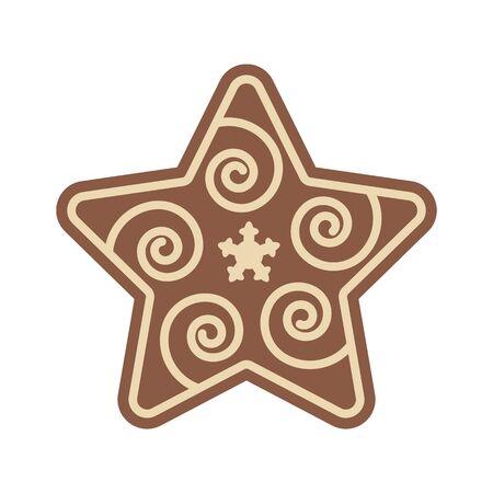 Christmas Star Shape Gingerbread Flat Design Icon