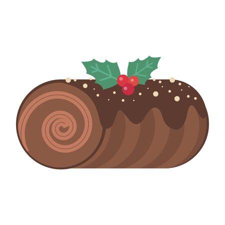 Icône plate de gâteau de dessert de Noël de bûche de Noël Vecteurs