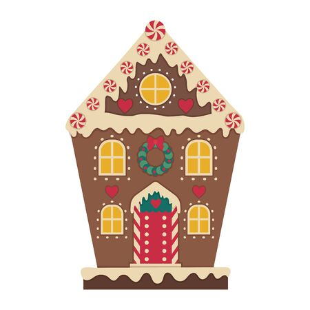 Christmas Gingerbread House Decorated with Icing Icon Vector Illustratie