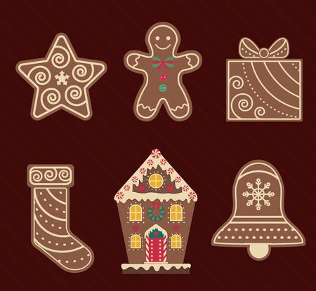 Christmas Ginger and Chocolate Cookies Flat Icons Vector Illustratie