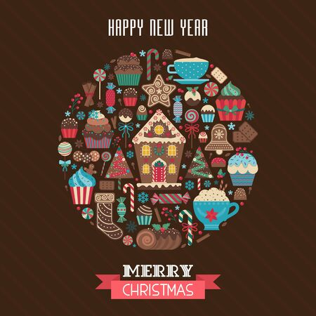 Merry Christmas Greeting Card in Circle Shape