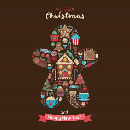 Merry Christmas Greeting Card in Ginger Man Shape 스톡 콘텐츠 - 134531966