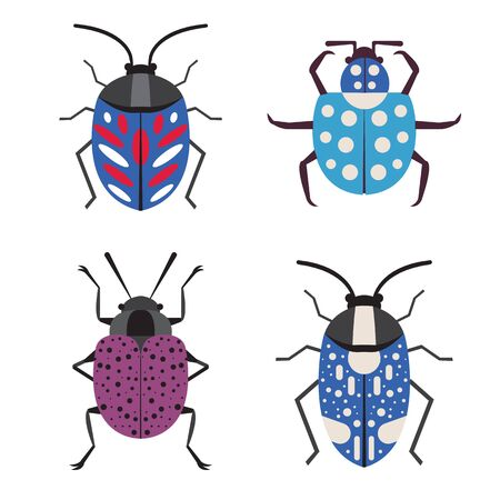 Colorful Exotic Tropical Bug Icons in Flat