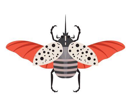 Colorful Hercules Rhinoceros Beetle Flat Design Icon 일러스트