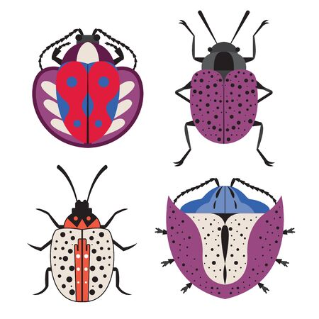 Colorful Unusual Exotic Bug Icons in Flat 일러스트