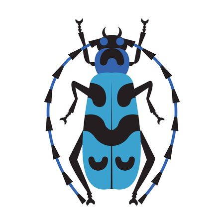 Blue Exotic Longhorn Beatle Flat Design Icon 스톡 콘텐츠 - 134531969