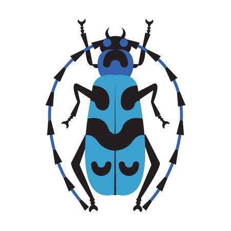 Blue Exotic Longhorn Beatle Flat Design Icon