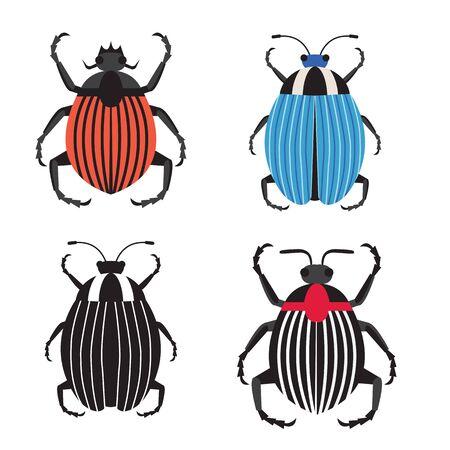Colorado Potato Beetle Icons in Flat Design