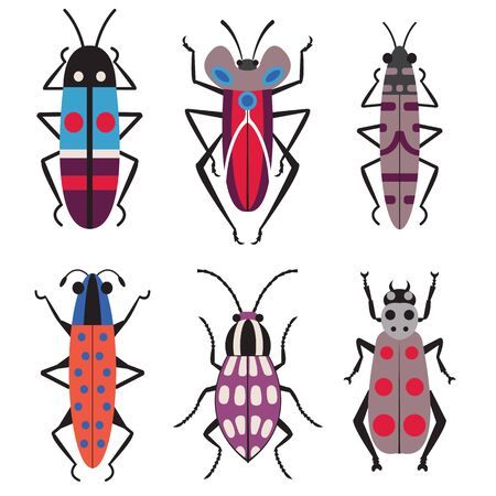 Exotic Bugs and Beetles Flat Design Icons