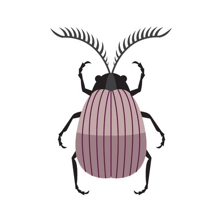 Scarab Beetle Icon in Simple Flat Design