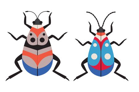 Dotted Exotic Tropical Bug Icons in Flat