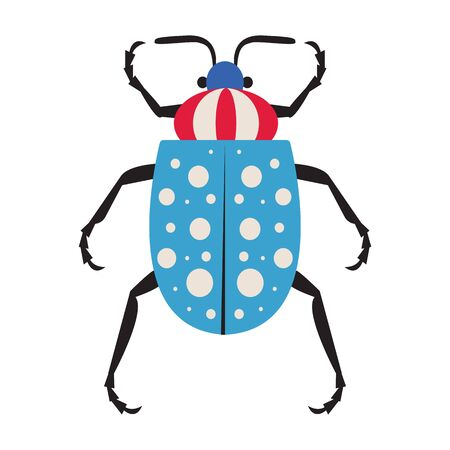 Dotted Exotic Tropical Bug Icon in Flat