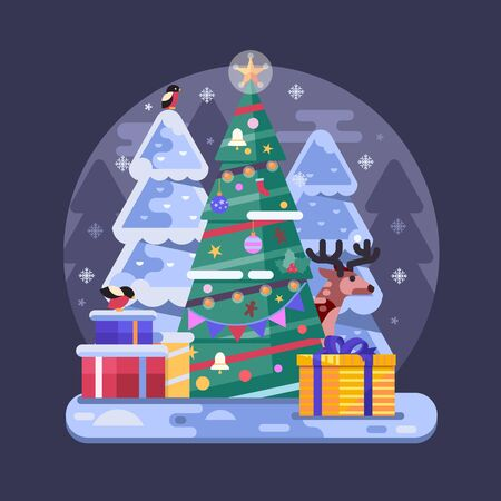 Flat Decorated Christmas Tree with Holiday Gifts 일러스트