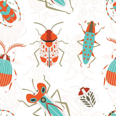 Pattern with scarab, leaf bugs and Rosalia longhorn tropical beetle. Seamless entomology background with unusual exotic insect elements for prints, fabric and gift wrapping paper.