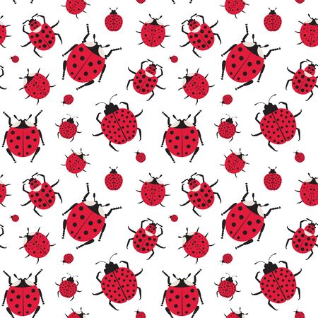 Ladybugs and ladybirds pattern. Seamless entomology background with beetles, bugs and insect elements for prints, fabric and gift wrapping paper.