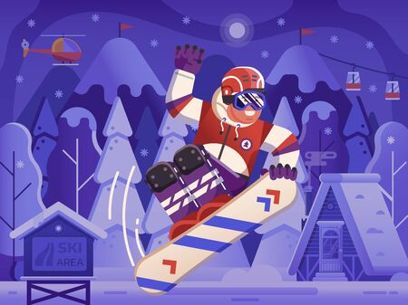 Smiling cross country snowboarder jumping on snowy ski resort background. Freeride snowboard man character in motion concept scene. Mountain freestyle skier jump on snow hill. Illustration