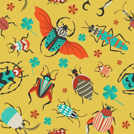 Unusual Bugs and Exotic Beetles Seamless Pattern
