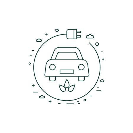 Green Electric Car with Charger Line Icon