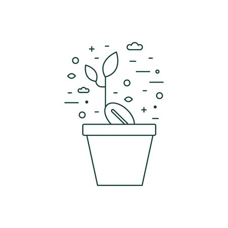 Sprout in Flower Pot Line Art Icon