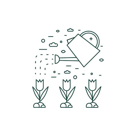 Water Plants from Watering Can Line Icon