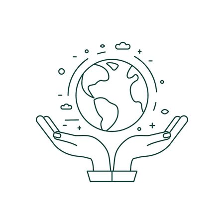 Hands Holding Planet Earth Icon in Line Art 일러스트