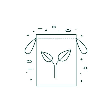 Eco Friendly Grocery Bag Icon in Line Art