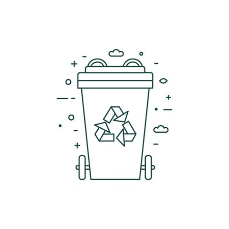 Green Recycling Bin with Recycle Line Symbol 일러스트