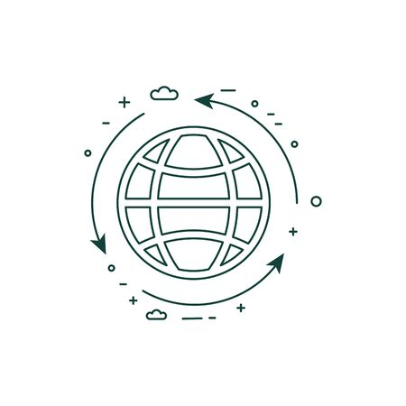 Planet Protection and Sustainable Living Line Icon