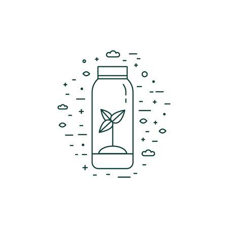 Sprout in Bottle Eco Icon in Line Art