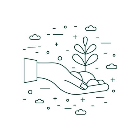 Hand Holding Plant Icon in Line Art 일러스트