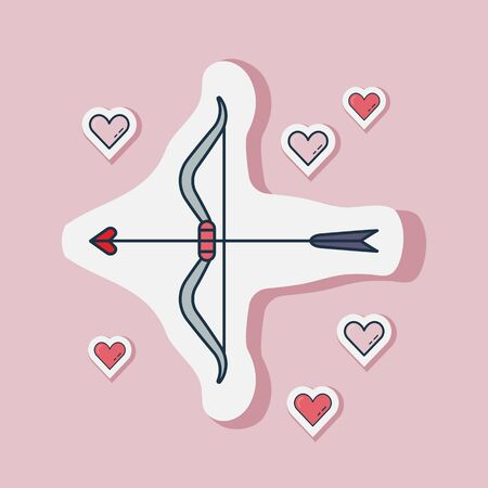 Saint Valentine Day sticker with Cupid bow and love arrows. Happy St Valentine line romantic icon with love symbols. 일러스트
