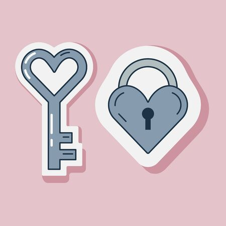Saint Valentine Day sticker with love lock in heart shape and key. Happy St Valentine line icons with romantic symbols.