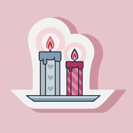 Saint Valentines Day burning candles sticker. Happy St Valentine romantic icon in line art.