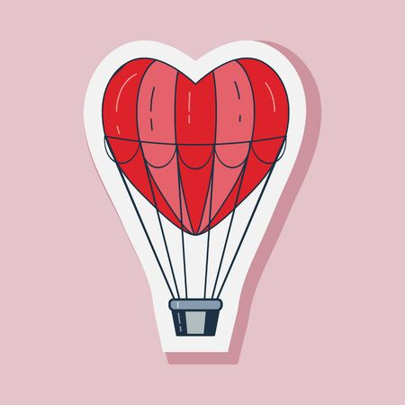 Saint Valentines Day sticker with love balloon in heart shape. Happy St Valentine line icon with red aerostat. 일러스트
