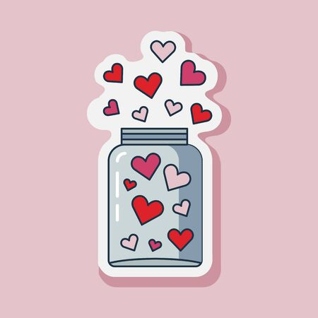 Saint Valentine Day line jar of hearts sticker. Happy St Valentine icon with love symbols. 일러스트