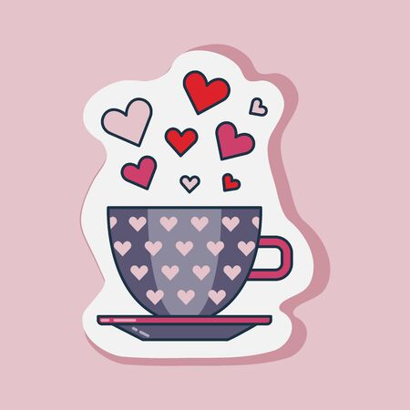 Saint Valentines Day cup of hearts sticker. Happy St Valentine line icon with love mug and heart symbols.