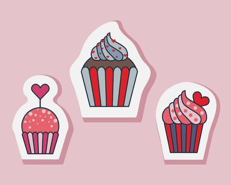 Saint Valentines Day muffin stickers in line art. Happy St Valentine cupcake treats. Decorated cakes, bakery and pastry icons. 일러스트