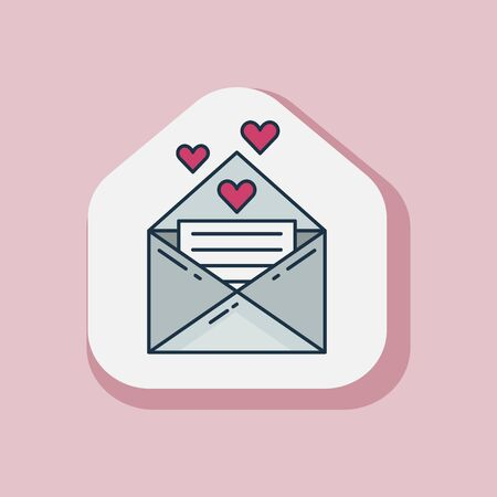 Saint Valentine Day love letter sticker in line art. Happy St Valentine icon with opened envelop with romantic note and heart symbols. 일러스트