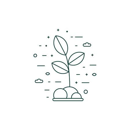 Eco Plant Growing Icon in Line Art