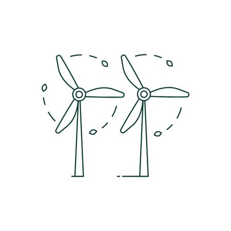 Green Energy Wind Turbines Icon in Line Art