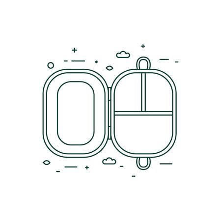 Plastic Free Lunch Box Icon in Line Art