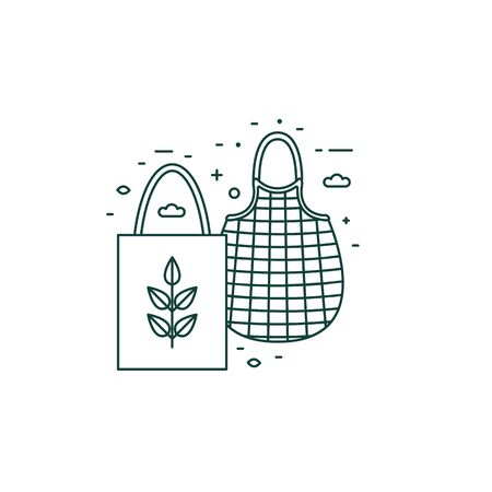 Eco Friendly Grocery Bags Line Art Icon Illustration